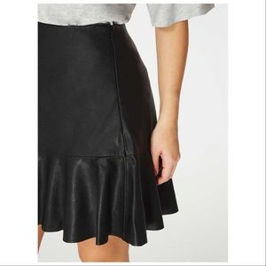 Zara Black Faux Leather Flared Mini Skirt